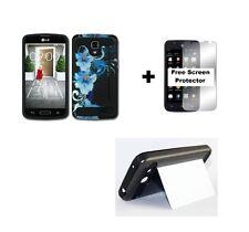 LG Optimus Exceed 2 VS450PP Rugged Hybrid Case + Screen Protector - Blue Flower