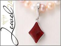 Damen Vario-Clip Anhänger echt Silber 925 Sterling rhodiniert mit rotem Acryl