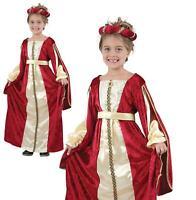 GIRLS REGAL PRINCESS MEDIEVAL VICTORIAN FANCY DRESS BOOK WEEK SIZE 7//12 YEARS