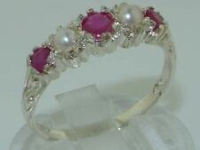 Made in England Solid 9ct White Gold Natural Ruby & Pearl Vintage Des Band Ring