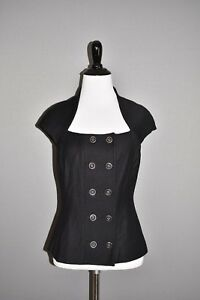 ANNE FONTAINE NEW $695 Black Double Breasted Wool Jacket FR 38 / US 4