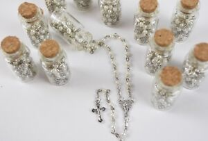12 X Rosarios y Botella Blancos Quinceanera Bautizo Boda Favors Rosary & Bottle