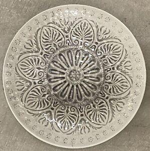 Il Mulino Grey Medallion MELAMINE Dinner Plates Set Of 4