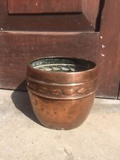Embossed hammered Antique Copper Planter Arts & Crafts English Made Vintage OLD