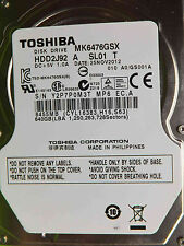 640 GB Toshiba mk6476gsx | 25nov2012 | hdd2j92 a sl01 T | gs001a disco rigido