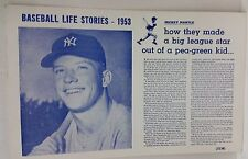 1953 Mickey Mantle Baseball Life Stories how they made a big league star poster