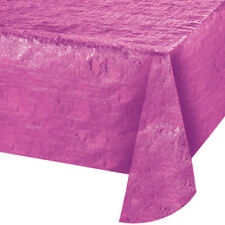 PINK SHINY TEXTURED METALLIC PLASTIC TABLE COVER ~ Birthday Party Supplies CLoth