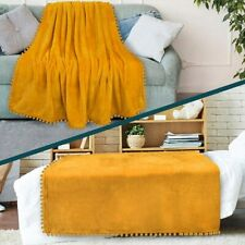 Fleece Throw Blanket with Pom Pom Fringe Super Soft Lightweight Bed Couch Winter