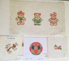 x4 NP Canvas Jinice Aviva Xmas Ball Ornament Elf Teddy Bears Scissor Case