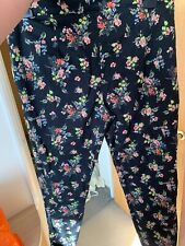 Ladies Black Floral Smart Trousers Size 14 Straight Leg Zip Fastening