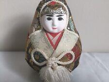 "Vintage Japanese Hime Daruma Kimekomi Doll Roly Poly Gofun Face Rare 4"" x 3"""