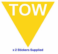 2 x TRIANGLE-Jaune tow Flèche course / rallye voiture stickers / autocollants