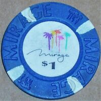 Old $1 MIRAGE Casino Poker Chip Vintage Antique House Mold Las Vegas NV 1989 VG