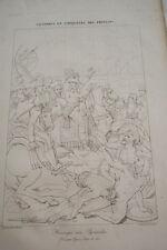 GRAVURE SUR CUIVRE NAPOLEON HARANGUE AUX PYRAMIDES EGYPTE 1822 TARDIEU GROS