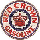 "Red Crown Gasoline 12"" Round Tin Sign Nostalgic Metal Sign Retro Home Wall Decor"