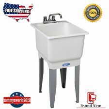 White Utility Laundry Sink with Faucet and Drain Freestanding Tub Sink Basement