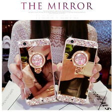 Luxury Bling Mirror Diamond Soft Case Cover For iPhone 7 6S + Ring Holder Stand
