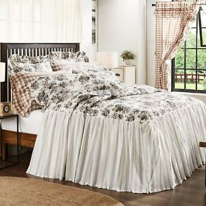VHC Brands Farmhouse California King Coverlet Brown Annie Floral / Bedroom Decor