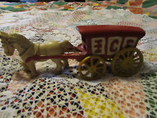 cast iron, ice horse 7 1/2 in. long,red/white/yellow