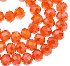 15 GLASPERLEN RONDELL 10mm Fire Opal Orange AB TSCHECHISCHE KRISTALL BEST X186