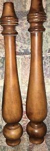 23'' Pair of Vintage Solid Wood Posts, Pillars, Columns with metal screw in wood