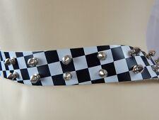 Nos Underground England 2 Tone Checker Metal Spike Studs Belt Leather Punk Ska M