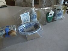 Blue And White Garden 7Pc Bathroom Accessory Cerami/Porcelain Counter Bath Set,