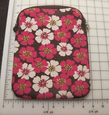 Tablet Sleeve Slim Neoprene Bright pink white Flowers 10 inch by 8 inch devices