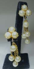 Vintage Signed MIRIAM HASKELL PEARL GOLD BOX LINK DROP DANGLE Clip Earrings