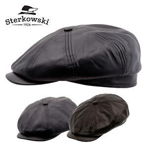 Sterkowski MALONE Leather Flat Cap Gatsby Newsboy Vintage Applejack Driving