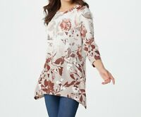 A374621 Denim & Co. Printed Jersey Round Neck Trapeze Hem Tunic NATURAL 3X-741