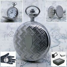 Silver Antique Pocket Watch Heavy Brass Case 47 MM with Fob Chain & Gift Box P57