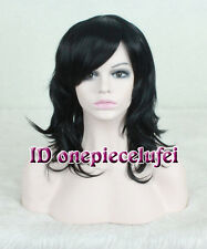 shoulder Length Multi Layered Curls Out black Wig +a wig cap