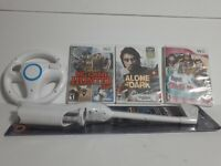 Official OEM Nintendo Wii Racing Steering Wheel & Golf Club & 3 games Cabellas
