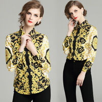 2018 Spring Fall Runway Vintage Print Women Casual Long Sleeve Shirts Top Blouse