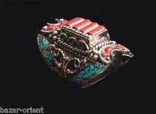 Traditioneller Tibetischer Türkis Ring tibetan turquoise ring neusilber  Nr.5