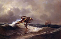 "Oil painting Ivan Constantinovich Aivazovsky - The Rescue - shipwreck canvas 36"""