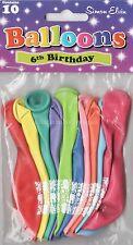 10 x 6 ANNI HAPPY BIRTHDAY PALLONCINI Multi Colore Airfill Partito Decorazione