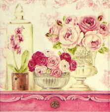 4x Tovaglioli di carta per Decoupage Decopatch vintage shabby pitturare Rose