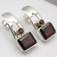 """2 Stone GIRLS' Stylish Jewelry !! 925 Sterling Silver RED GARNET Earrings 0.8"""""""