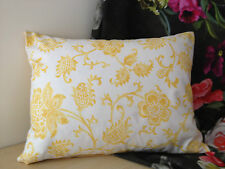 """JANE CHURCHILL YELLOW/WHITE COTTON FLORAL BOLSTER CUSHION PILLOW  COVER 16X12.5"""""""