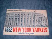 1962 NY YANKEES SOUVENIR SCORECARD & OFFICIAL PROGRAM