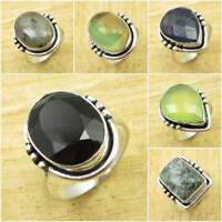 BLACK ONYX & Other Gemstones ! 925 Silver Plated FASHION Ring Size To Choose