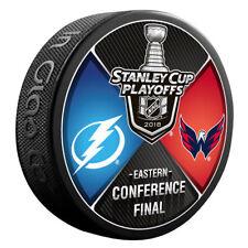 WASHINGTON CAPITALS vs TAMPA BAY LIGHTNING 2018 Playoffs NHL DUELING LOGO PUCK