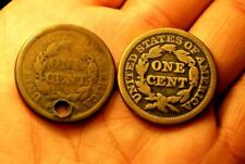 ++  1844 1845 LARGE CENT  EARLY COPPER PENNIES  44 IS HOLED  JEWELRY ++