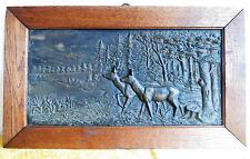 1885 Metallguss REHE Relief Eiche Rahmen 55 x 32,5_Jagdmotiv_signiert_Waldszene