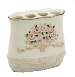 Avanti Rosefan Toothbrush Holder - Ivory with Pink, Gold and Green Accents