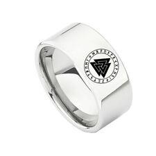 Wikinger Edelstahl Ring Valknut Symbol Vegvisir  Runen Thor Odin Mjölnir(RE108)