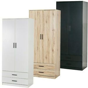 Tall Wooden 2 Door Wardrobe With 2 Drawers Bedroom Storage Hanging Bar Clothes