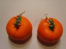 Ohrringe mit Mandarine Obst aus Gummi Handgemacht 2882